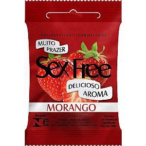 Preservativo Morango com 3 Unidades Sex Free