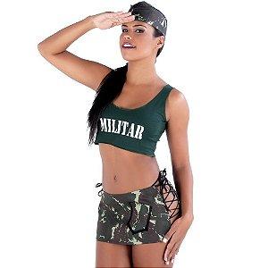 Kit Fantasia Militar Saia Amareto