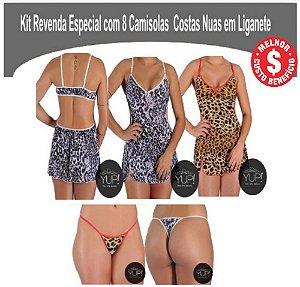 Kit Revenda com 8 Camisolas Costas Nua em Liganete