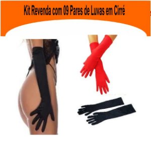 Kit Revenda Com 09 Luvas Em Cirré Black Submission Dominatrixxx