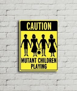Placa de Parede Caution Mutant children playing