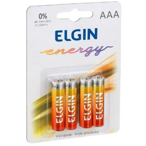Pilha de Zinco Carvão Energy AAA Blister com 4 unidades 82186 Elgin