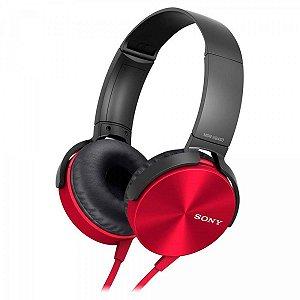 Fone de Ouvido Headphone Sony MDR-XB450AP Com EXTRA BASS Vermelho