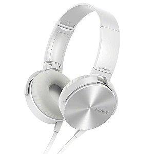 Fone de Ouvido Headphone Sony MDR-XB450AP EXTRA BASS Com Microfone - Branco