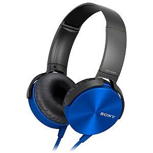 Fone de Ouvido Headphone Sony MDR-XB450AP EXTRA BASS Com Microfone - Azul