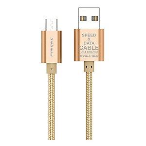 Cabo de Dados Micro USB V8 Pineng PN-306 de Nylon 1,5 Metro