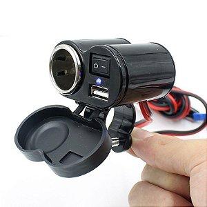 Carregador Tomada USB de Celular e GPS 12v Para Moto 2.1A 5V