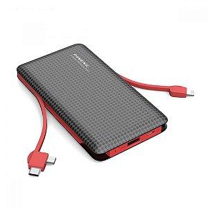Carregador Portátil Pineng PN-956 10.000 mah 3 conectores; Type C, Lightining e Micro USB (Até 3 cargas) - Preto
