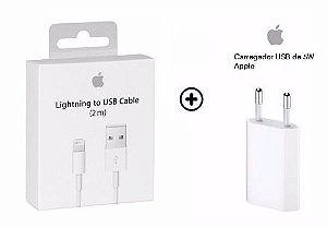 Carregador iPhone Completo + Cabo Lightning 2 metros Iphone 5, 6, 7, 8 e Iphone X - MD819ZM/A