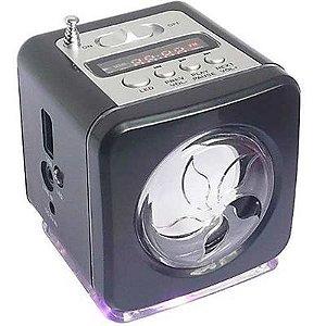 Mini Caixa de Som com FM e Lanterna LED WS-908RL