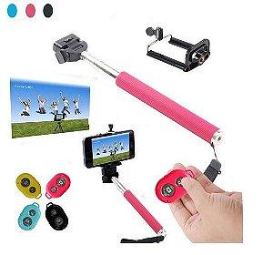 Bastão para Selfie Monopod com Controle Remoto Bluetooth - Compatível com Android e IOS