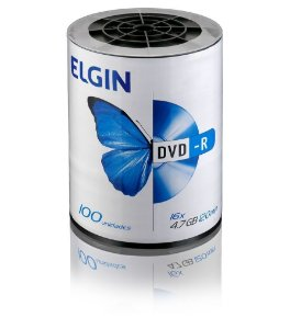DVD-R 4.7 GB/120 min/16 X (Tubo com 100 unidades) - Elgin