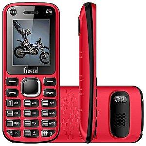 """Celular Desbloqueado Freecel Free Cross Vermelho Dual Chip, Tela de 1.7"""", Câmera VGA, Bluetooth, MP3 e Rádio FM"""