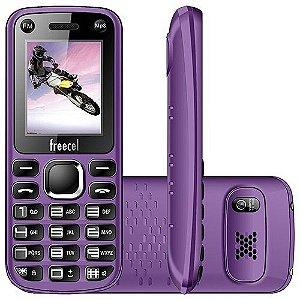 """Celular Desbloqueado Freecel Free Cross Púrpura Dual Chip, Tela de 1.7"""", Câmera VGA, Bluetooth, MP3 e Rádio FM"""
