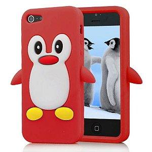 Capa Para Iphone 4G/4S De Silicone Pinguim Vermelho