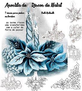 Apostila de riscos de Natal flores e velas