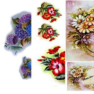 PAPEL PARA DECOUPAGE - hortênsias, hibiscos e margaridas