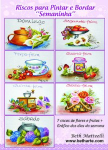 Apostila de riscos para pano de copa - Semaninha Flores e Frutas