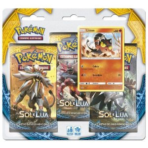 Kit 19 Cards Holográficas Pokémon Sol e Lua Litten