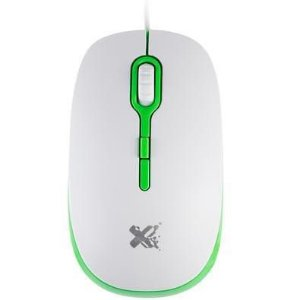 Mouse Ótico Soft Branco e Verde 1200 DPI - MaxPrint