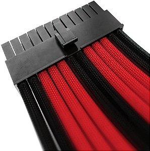 Kit 4 Cabos Sleeved Vermelho/Preto Extensor Fonte Rise Mode