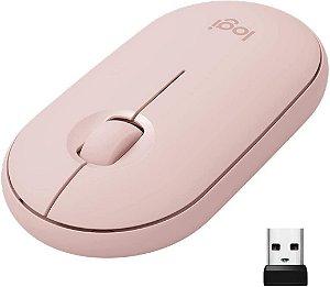 Mouse sem fio Logitech Pebble M350 Bluetooth Rosa