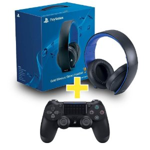 Headset Sony Gold Stereo Sem Fio 7.1 + Controle Dualshock 4