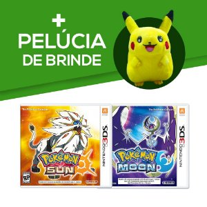 Pokémon Moon 3DS + Pokemon Sun 3DS + Pelúcia de Brinde