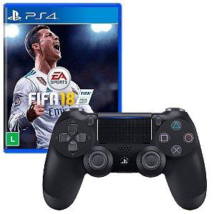 Jogo Fifa 18 (Fifa 2018) + Controle Dualshock Preto - PS4