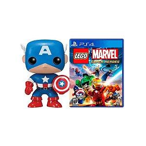Jogo Lego Marvel Super Heroes PS4 + Boneco Funko Capitão América