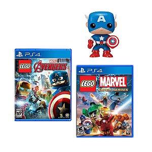 Jogo Lego Vingadores PS4 + Jogo Marvel Super Heroes PS4 + Boneco Funko Capitão America