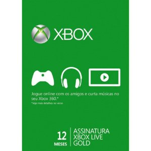 Cartão Xbox Live Brasil Microsoft Gold 12 meses
