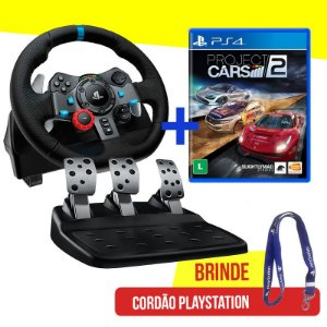 Volante Logitech Driving Force G29 - PS4, PS3 e PC + Jogo Project Cars 2 - PS4