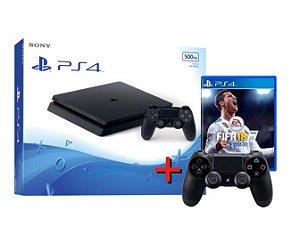Playstation 4 Slim 500GB + Controle Adicional + Fifa 18 - PS4