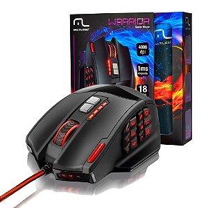 Mouse Gamer Warrior M0206 4000dpi + Mousepad - Multilaser