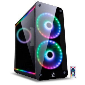 Gabinete Gamer PCYes Solaris - Mid Tower, RGB, com FAN, Laterais e Frontal em Vidro