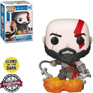 Boneco Funko Pop Playstation #154 - Kratos (With the Blades of Chaos)