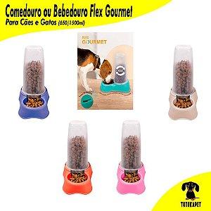 Comedouro ou Bebedouro Flex Gourmet - 650ml - 1500ml - Plast Pet