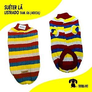 Suéter Pet de Lã Listrado Tam.06 - ClubPet