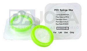 Filtro de Seringa em PES Esteril Diametro externo 30 mm x25mm de diametro membrana 0.22um de poro, PES, Marca Dajota