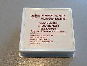 Lamina de vidro SILANIZADA carregada eletrostaticamente med aprox 26x76 mm +ou- 1mm cx com 72 unidades marca SCHARLAU
