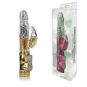 Vibrador Rotativo 36 Funções com Estimulador Clitoriano 22,5x3x5 - Erótika Store