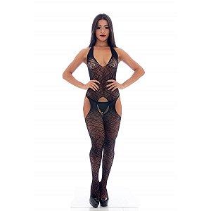 Macacão Arrastão Sensual Frente Única de Corpo Inteiro com Cinta Liga Embutida Yaffa Lingerie - Erótika Store
