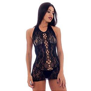 Mini Vestido Sensual Frente Única com Detalhes Yaffa Lingerie - Erótika Store