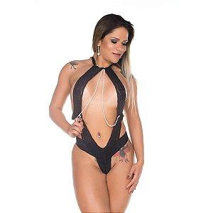 Body Deusa do Amor em Renda Sensual com Pérolas e Cetim Pimenta Sexy - Erótika Store