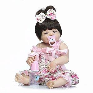 Bebê Reborn Boneca Reborn Toda em Silicone - 55 Cm