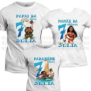 77834dd7fcf4e 3 Camisetas Personalizadas tema Moana Kit Camisas Aniversario Kit Blusas
