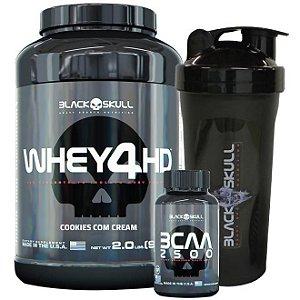 Combo Black Skull Whey 4hd (907g) + Bcaa 2500 (60caps) + Coqueteleira Brinde
