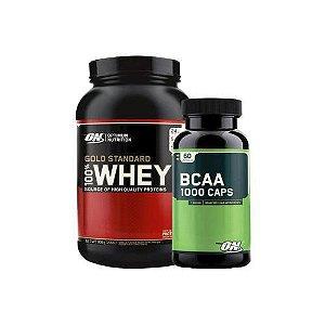 Kit Whey Protein 100% Gold Standard + BCAA 1000 CAPS - Optimum Nutrition