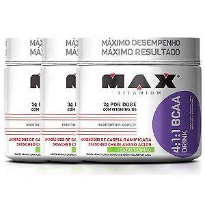 Kit c/ 3 BCAA Drink 4:1:1 - 280g - Max Titanium